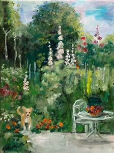 A4 Print of Original oil painting art cottage garden dog home decor shabby chic