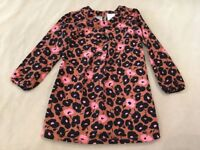 Hanna Andersson Tunic 110 Girls Brown Pink Black Floral Long Sleeve