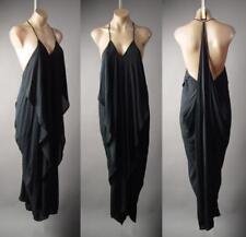 Black Ruffle Drape Grecian Goddess Long Maxi Cami Slip Gown 216 mv Dress S M L