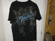 Fender Guitar Custom Shop Men's Black Blue Baroque Medium T-shirt Rock & Roll