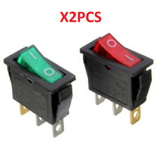 On/Off Large Rectangle Rocker Switch LED Lighted Car Dash Boat 3-Pin SPST 12V x2