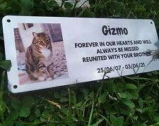 Pet Cat Memorial Wall Plaque Photo Personalised Grave Marker Sign Dog Ground