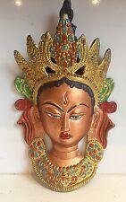 TIBETAN BUDDHA FACE 10'' Tara Devi HEAD WALL Hanging MASK Shamanism Durga