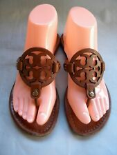 Tory Burch Miller Brown Leather Logo Flat Thong  Sandals Size 7