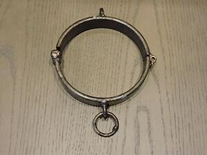 Roman style BDSM Hand Made/Forged locking Collar Distressed Metal 1 inch wide Sm