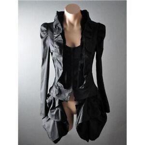Victorian Goth Steampunk Bustle Tailcoat Ruffle Blouse Shirt S M L XL 2XL 3XL