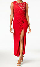 R&M Richards New Asymmetrical Ruched Lace Dress Size 10 #EN 1321