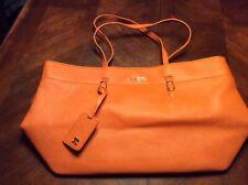 Huge Joes Jeans Tote Vegan Leather Handbag Orange Nwot