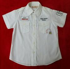 New Brums White US/badge detail short sleeved shirt -boys size 8 -fitted back.