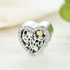 Beautiful 925 argento Sterling Charm Cuore Love You con borchie CZ