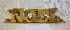 Vintage Brass Enamel Noel Christmas Candle Holder