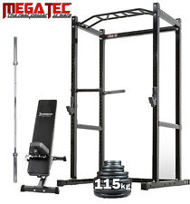 Megatec POWER RACK PACKAGE // Barbell Weights Bench Home Gym Set Deal Olympic