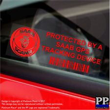 5 x RED- SAAB GPS Tracking Device Security Stickers-9-3 9-5-Car Alarm Tracker