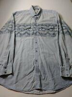 Vintage Express Rider Denim Aztec Western Shirt Size 2XL XXL Blue Long Sleeve