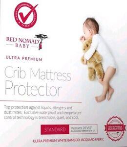 Red Nomad Crib Pad Mattress Protector – Ultra Soft Bamboo Fabric Waterproof