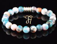 Jade blau bunt Armband Bracelet Perlenarmband Buddha 8mm