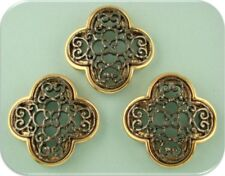 2 Hole Beads Quatrefoil Filigree Moroccan Pattern Hematite Gold ~ Sliders QTY 3