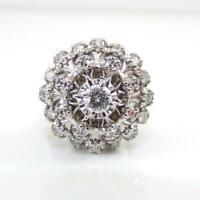 Vtg 0.75ctw Diamond Cluster Flower Modernist 14K White Gold Ring Size 4.5 LHH2