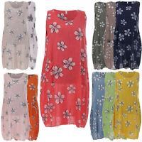 New Italian Women Floral Print Cotton Maxi Top Ladies Lagenlook One Size Dress