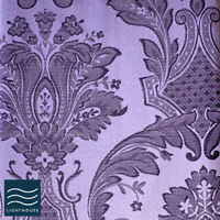 """Luxury Shimmer Purple Damson 66"""" x 72"""" Curtains Pair Pencil Pleat Lined Floral"""