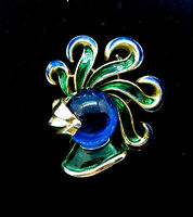 RARE~!!  SIGNED CROWN TRIFARI BLUE JELLY BELLY PLUMED HELMET KNIGHT BROOCH TH0