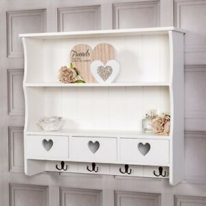 Large White Wall Shelf Unit With Hooks Drawers Heart Storage Kitchen Home Chic