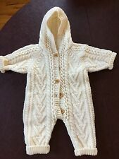 Genuine Irish wool, hand-knit, hooded baby suit with wooden buttons SHIPS FREE!