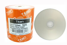 100 Titan 52X CD-R Glossy Silver Inkjet Hub Printable Metalized Hub CDR Disc