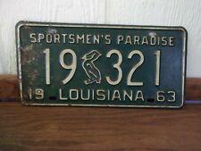 1963 LOUISIANA Pelican License Plate 19-321