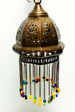 Egyptian Lamps, Moroccan Lamps, Arabic Style Hanging Lamp with Glass Beads -Med
