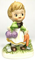 """Rare Vintage 4"""" Collectible Figurine Girl #8822 with Carrots and Beets"""
