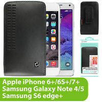 BLACK LEATHER OPEN TOP HOLSTER CASE POUCH FOR MOTOROLA MOTO PHONES