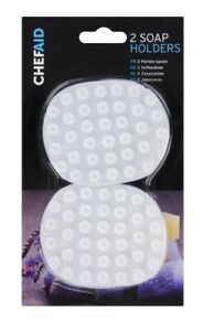 2 Soap Holders In White With Anti Slip Suction Suckers Chef Aid