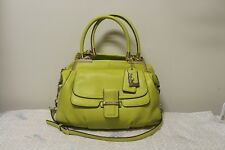 Euc COACH MADISON PINNACLE PEBBLED Gold/Kiwi LEATHER LILLY SATCHEL BAG 22330
