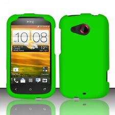 For Cricket HTC Desire C Rubberized HARD Case Snap On Phone Cover Neon Green