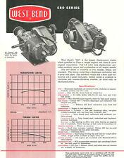 Vintage & Very Rare 1960 West Bend 580 Go-Kart Engine Specifications Sheet