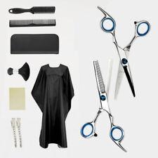 10 Stück Effilierschere Friseurschere Haarscheren Kamm Set Clips Bürste Umhang