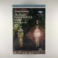 2x Starlight Glass Bottle Lamps (Gold Mercury Effect) Battery Powered