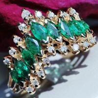 signed BH vintage Effy 14k yellow gold 1.30ct emerald diamond sz 6.25 ring 4.7gr