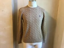 POLO RALPH LAUREN BROWN LIGHT WEIGHT CABLE KNIT WOOL CASHMERE SWEATER S PULLOVER