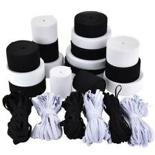 "Flat Braided 1/4"" (6mm) 1/8"" (3mm) width White Black Elastic Band 6 to 300 yards"