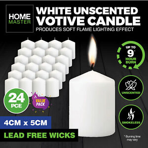 Home Master® 24PK Votive Candles White Home Décor Party Wedding 4cm x 5cm
