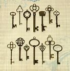 14 Antique Vtg old look Big Large Ornate Bronze Skeleton Key Pendants Lot Fancy