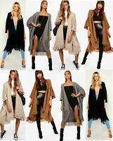 Plus Size Ladies Cardigan Womens Knitted Baggy Tassel Booho Cape Cardigan Poncho
