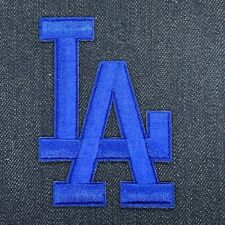"LOS ANGELES DODGERS LA LOGO JERSEY IRON ON PATCH BLUE 3 5/8"" X 2 1/2"""
