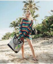 Henri Bendel Canvas Striped Cabana Tote Bag Green Nwt