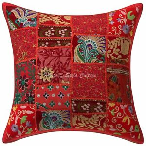 Indian Cotton Patchwork Cushion Cover Hand Embroidered Decor Pillow Case Cover