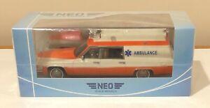 NEO 1977 Cadillac Superior Ambulance White Orange 1/43