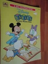 1990 Golden Big Coloring Book Disney Babies Nursery Rhyme Book New
