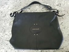 Longchamp Quadri Leather Hobo Bag Black Shoulder Bag Purse Silver Accents $430